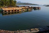 picture of houseboats  - Houseboat on river in Sangklaburi Kanchanaburi country Thailand - JPG