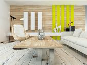 stock photo of settee  - Rustic decor in a modern living room with a wood wall with yellow accents - JPG