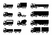 stock photo of dumper  - Vector set of silhouettes the cargo trucks - JPG