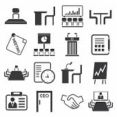 stock photo of convocation  - set of 16 business meeting icons - JPG