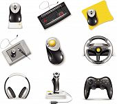 image of tablet pc computer  - Set of icons representing realistic computer components - JPG