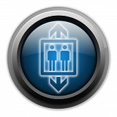 foto of elevator icon  - Icon Button Pictogram with Elevator Lift symbol - JPG
