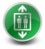 stock photo of elevator icon  - Icon Button Pictogram with Elevator Lift symbol - JPG