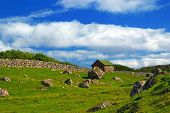 stock photo of faro  - Old stone house with green top in Faroe Island - JPG