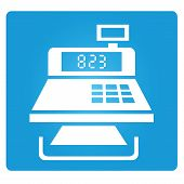 picture of cashiers  - cashier machine symbol in blue button - JPG