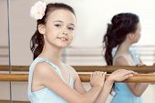 stock photo of ballet barre  - Portrait of pretty dark - JPG