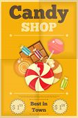 stock photo of lolli  - Candy Shop Retro Poster with Sweets on Yellow Background - JPG