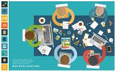 foto of workstation  - Set of Flat Style Illustrations - JPG