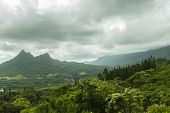 pic of three sisters  - Olomana Ridge commonly called Three Sisters and the Koolau Mountain Range on the Windward side of Oahu Hawaii - JPG