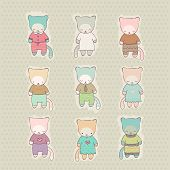 stock photo of arcade  - Set of cute kittens dressed in dresses and costumes - JPG