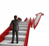stock photo of step-ladder  - Climb the ladder of statistics to success - JPG