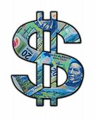 stock photo of pesos  - Cash Sign made out of real Mexican Peso bills - JPG