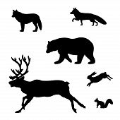 foto of wild-rabbit  - Set of silhouettes of wild animals on a white background - JPG