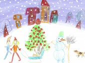 stock photo of sleigh ride  - The image of the Watercolor Children Drawing - JPG