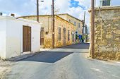 foto of neo  - The narrow street with the medieval houses in Neo Chorio village Cyprus - JPG
