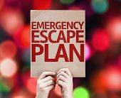 picture of emergency light  - Emergency Escape Plan card with colorful background with defocused lights - JPG