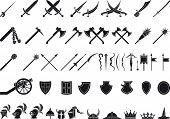picture of mace  - large set of medieval weapons and items isolated on white - JPG
