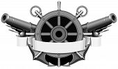 foto of cannon-ball  - the coat of arms with anchors  and cannons - JPG