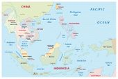 stock photo of south east asia  - detailed map of the south east states map - JPG