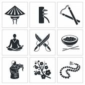 stock photo of taoism  - Vector Isolated Flat Icons collection on a white background - JPG