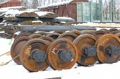 picture of railcar  - Railcar wheels on the axles of the wheelset as the element - JPG