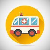 foto of ambulance car  - Ambulance Car Hastens Aid Rescue Icon Treatment Symbol on Stylish Background Modern Flat Design Vector Illustration - JPG