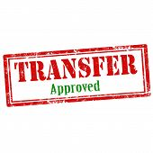 stock photo of transfer  - Grunge rubber stamp with text Transfer approved - JPG