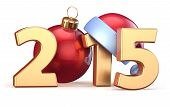 picture of countdown  - 2015 New Years Eve bauble Christmas ball decoration Santa hat Merry Xmas wintertime stylized countdown calendar date - JPG