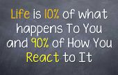 foto of motivational  - Motivational saying telling people that it is how they react to things move than what happens - JPG
