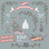 stock photo of bridal shower  - Retro bridal shower design template set with floral decor - JPG