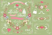 stock photo of bridal shower  - Retro bridal shower design template set with floral decor - JPG