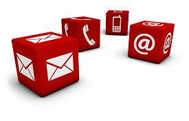picture of blog icon  - Web and Internet contact us concept with email mobile phone and at icon and symbol on four red cubes for website blog and on line business - JPG