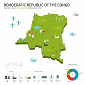 stock photo of hydroelectric power  - Energy industry and ecology of Democratic Republic Congo vector map with power stations infographic - JPG