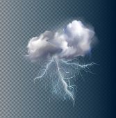 foto of lightning  - Very realistic vector cloud and lightnings - JPG