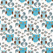 foto of owls  - Cute seamless pattern with owls couple - JPG