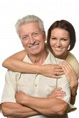 stock photo of father daughter  - Happy father and daughter on white background - JPG