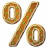 image of fraction  - Holiday cookie in shape of percentage symbol - JPG