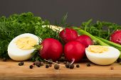 stock photo of radish  - Healthy vegetarian food. Radishes parsley green onions