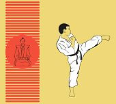 foto of karate  - The man shows karate - JPG