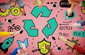 stock photo of reuse  - Recycle Reduce Reuse Eco Friendly Natural Saving Go Green Concept - JPG
