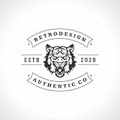 Vintage Tiger Logotype or mascot emblem symbol. Can be used for T-shirts print, labels, badges, stic poster