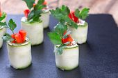 foto of chinese parsley  - Cucumber spring rolls with soft cheese - JPG