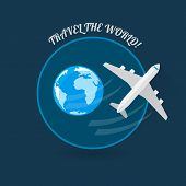 picture of time flies  - Time to travel modern flat style plane icon - JPG