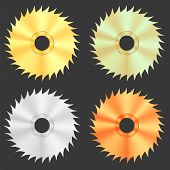 stock photo of sawing  - Circular Saw Discs Isolated on Dark Background - JPG