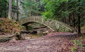 foto of cross hill  - Stone bridge crosses a small stream in the forested wilderness of Hocking Hills State Park - JPG