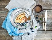 stock photo of crepes  - Thin pancake or crepe with fresh blueberry - JPG