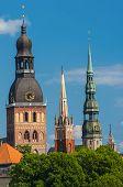 stock photo of church  - Towers of Riga seen in Riga - JPG
