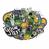 pic of monster symbol  - Vector illustration of Monsters and cute alien friendly cool cute hand - JPG