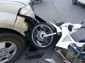 picture of motorcycle  - Crash Accident pickup truck and motorcycle for insurance or safety concept - JPG