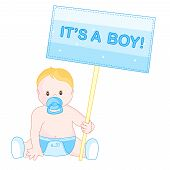 stock photo of announcement  - Baby announcement clipart with a cute little baby boy sitting on the floor holding It - JPG
